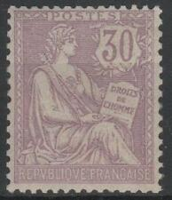 "FRANCE STAMP TIMBRE 128 "" MOUCHON RETOUCHE 30c VIOLET 1902 "" NEUF xx LUXE  M554"