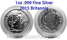 2015 GREAT BRITAIN UK 1 oz .999 Fine Silver Coin BRITANNIA BU IN CAPSULE