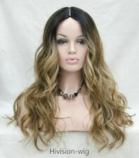 Long Wavy Parted middle Ombre Lace Front Heat Resistant Women Natural wig #9112