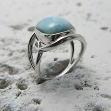 Trilliant AAA Larimar Ring 925 Sterling Silver Aqua 6.89 Grams Size 6