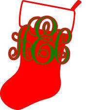 Monogram Christmas Sock Decal Sticker for Car/Truck Laptop Window Custom