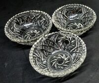 """SET ~ 3 SM 4"""" CLEAR PRESSED GLASS FOOTED BERRY NUT DESSERT TRINKET DISHES BOWLS"""