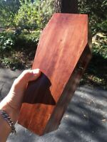 """PINE COFFIN BOX! 11"""" HAND MADE IN USA JEWELRY STASH TRINKETS PROP RED OAK STAIN"""