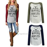 Womens HAVE YOUSELF Double Color Printed Long Sleeve Crew Neck T-shirt Tees Tops