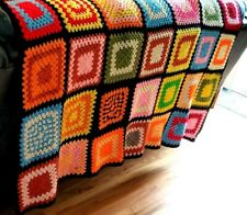 "Granny Square Crochet Throw Black Base Blanket Afghan  70""x 48"""