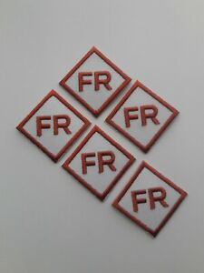 5 - Replacement FR Patches Iron On White Fire Retardant Pants Shirt Jacket Tag