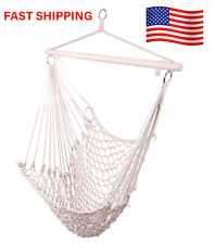 Hammock Cotton Swing Camping Hanging Rope Chair Wooden Beige White Outdoor