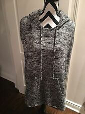 New Women's Black And White Knit Wool Blend Poncho With Hood Size Large