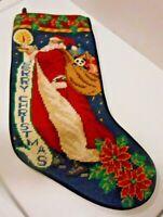 Vintage 90s ? Needlepoint Christmas Stocking Santa Claus Toys MERRY CHRISTMAS