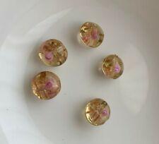 61) 10 stuks roze/gouden ronde/platte glaskralen, Beads nieuw