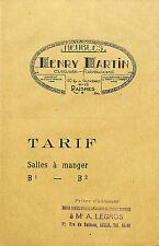 59 RAISMES TARIF SALLES A MANGER MEUBLES HENRY MARTIN VERS 1930