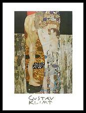 Gustav Klimt Die Drei Lebensalter Poster Kunstdruck mit Alu Rahmen in 80x60cm