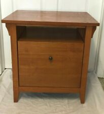 Vintage Mission Arts and Crafts Style Oak Finish Wood End Side Table - Nice!!