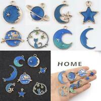 8pcs/Set Moon/Star/Planet Enamel Charm Pendant For DIY Jewellry Craft Making