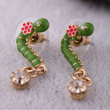 Exquiste Anthropologie Green Worm Pink Resin Flower Rhinestone Drop Gold Earring