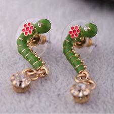 Exquiste Anthropologie Green Worm Pink Resin Flower Rhinestone Drop Gold Earring