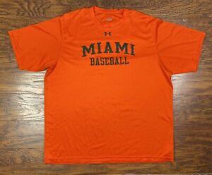 under armour miami hurricanes baseball t shirt XL orange H3