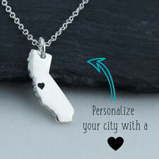 Personalized California State Necklace Engraved Heart Near Your City - Sterling