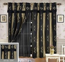 Luxury Lined Curtain Drapes Set and Valance Window Treatment 2 Panel LIDA BLACK