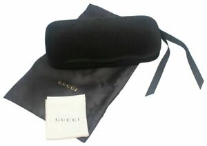 Gucci Black Velvet Sunglasses / Glasses Case Protective Hard Shell + Silk Pouch