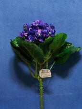 "Quality 9"" Choose African Violet Gloxinia Artificial Faux Silk Flower Bush"