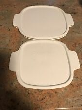 Lot 2 Corning Ware White Plastic Storage Lids A-1-PC and A-2-PC Casserole Covers