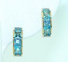 BLUE TOPAZ HUGGIE EARRINGS REAL SOLID 14 k GOLD 3.7 g