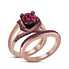 Ladies Engagement Wedding Bridal Set 14K Rose Gold FN 1.40Ct Pink Round Sapphire