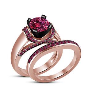 14K Rose Gold FN 1.40Ct Pink Round Sapphire Womens Engagement Wedding Bridal Set
