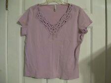 knit top purple white stag 16/18 100% cotton