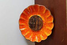 Vtg Walt Disney World Orange Glazed Ceramic Dish Flower Souvenir Ashtray WDW