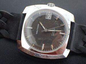 Vintage WALTHAM Men's 17 Jewel MECHANICAL WIND Wrist Watch runs Dark Gray dial