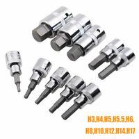 """10pcs 3/8"""" & 1/2"""" Drive Hex Allen Key Socket Bit Set H17-H30 New"""