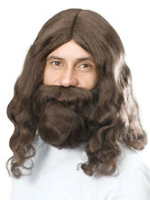 1960's Groovy Hippy Brown Wig With Beard One Size Mens Fancy Dress Jesus Adult
