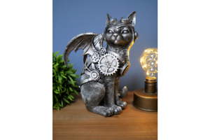 Steampunk Cat with Wings   Silver Finish   Resin Ornament   23 cm High