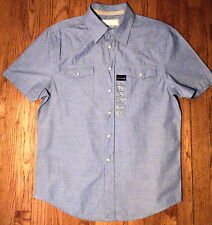 NWT Ditch Plains, Western Style Short Sleeve Blue 100% Cotton, Sz Large (SS-167)