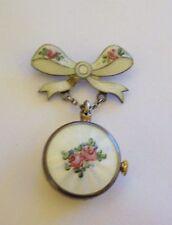 Gorgeous Antique Sterling Enamel Guilloche GRUEN Ladies Dangle Watch  Pin