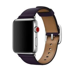 Apple Classic Buckle Leather Watch Band - Aubergine Purple - 42mm / 44mm - New