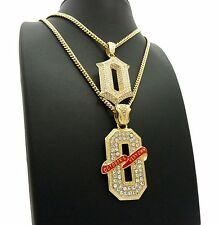 "QUALITY CZ STONED GOLD PLATED OVO ""O"" PENDANT & MIAMI CUBAN CHAIN 2 NECKLACE SET"