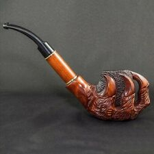 "EXCLUSIVE LARGE WOODEN TOBACCO SMOKING PIPE  PEAR   "" Dragon Eagle Claw ""  Brass"