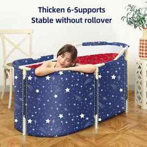 Folding Bathtub Portable Bath Tub Adult Kids Warm Spa Soaking Barrel Bucket Blue