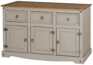 Corona Sideboard Grey Wax 3 Door 3 Drawer Solid Pine Dining Mercers Furniture®