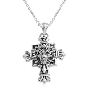 "Black Oxidized Stainless Steel Cross Pendant W/Chain (24"")  New!  #JN1120"