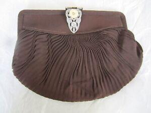 Vintage Art Deco clutch purse - Brown satin