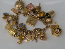 VINTAGE 9ct, 14 & 18ct GOLD BEAUTIFUL CHARM BRACELET WITH 20 RARE CHARMS 68.4gms