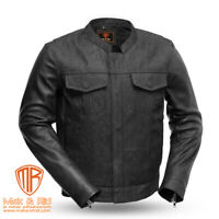 Men's New Black Raw Denim & Real Cowhide Leather Motorcycle Biker Riding Jacket