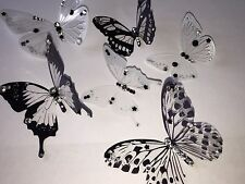 6 3D Black/white Butterflies room deco stickers hand decorated With Diamanté