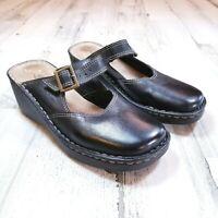 Aerosoles Womens Sz 7.5 Black Leather Slip On Mary Jane Wedge Clogs Shoes