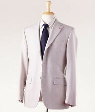 NWT $3695 ISAIA NAPOLI Light Gray Flannel Wool Suit Slim 38 R + Hanger/Coral Pin