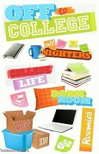 PAPER HOUSE 3-D GLITTER STICKERS - COMPUTER DORM COLLEGE BOOKS - OFF TO COLLEGE